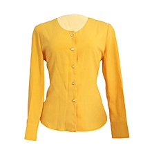 Official mustard long sleeved chiffon top