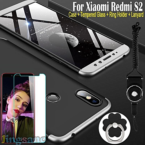 For Xiaomi Redmi S2 [Tempered Glass + Lanyard + Ring Holder + Case] Luxury