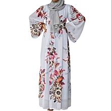Maxi Dresses Women's Dresses Rose Print Long Sleeve Floor Length-deeo blue