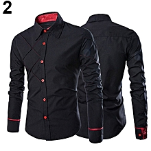 Men's Casual Business Buttoned Long Sleeve Grid Slim Fit Stylish Dress Shirt Top-Black.,