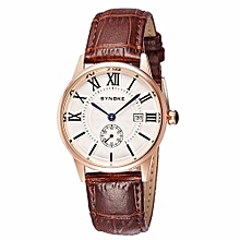 Movement Quartz  Leather Dual Dial Watch(Coffee&Gold)
