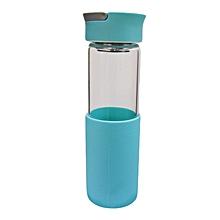 Glass Water Bottle - 460ml - Light Blue