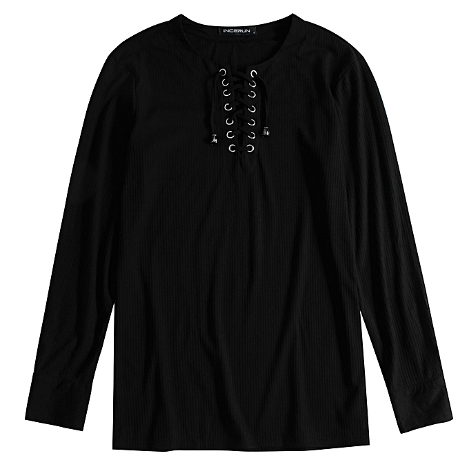acb1888692492c INCERUN Mens Causal Formal Shirt Lace up Front Long Sleeve Tops Baggy T- shirt