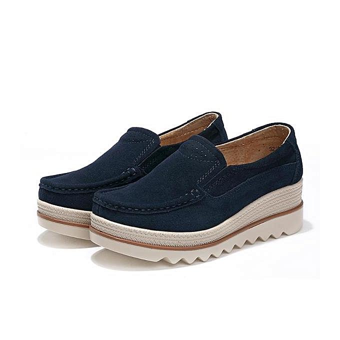 7e2ea7d9ecfe Fashion Womens Breathable Suede Round Toe Slip On Platform Wedges Shoes-EU