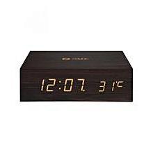 ZB-TIMEBLUE - Zoook Wooden Clock Bluetooth Speaker - Brown