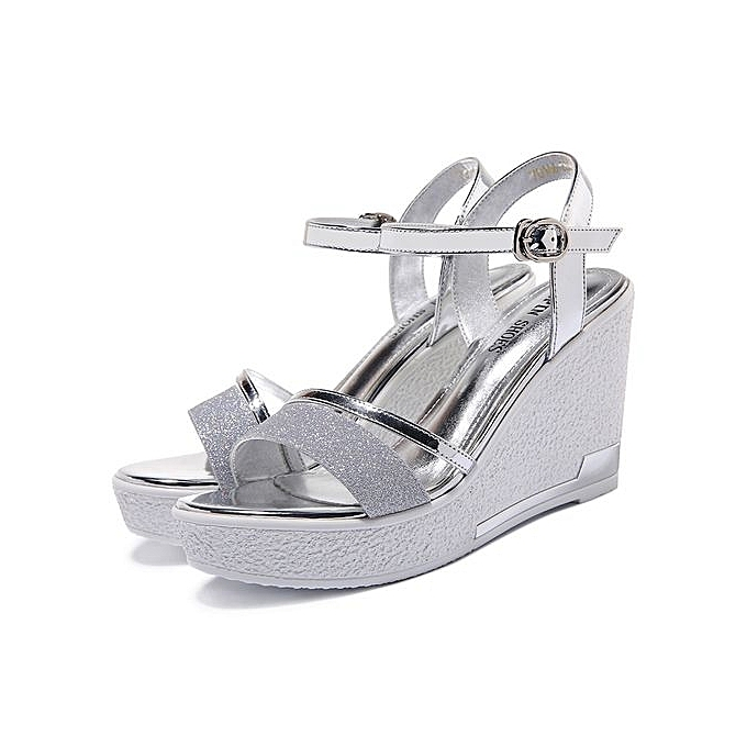 14e7b500dd4 Classic Ladies Wedge Sandals High Heels Shoes Black Silver Summer New Open  Toe Womens Platform Sandals