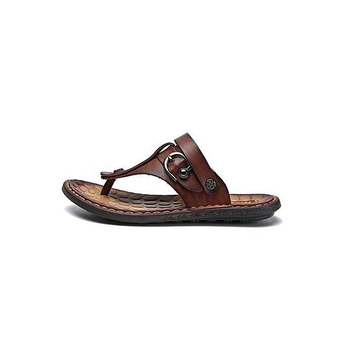 54907ca44226 Fashion Men s Summer Leather Flip Flops Fashion Sandals-Red Brown ...