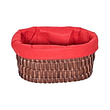 Oval Willow Basket - 39.5cm x 29cm x 18cm - Large - Brown & Red