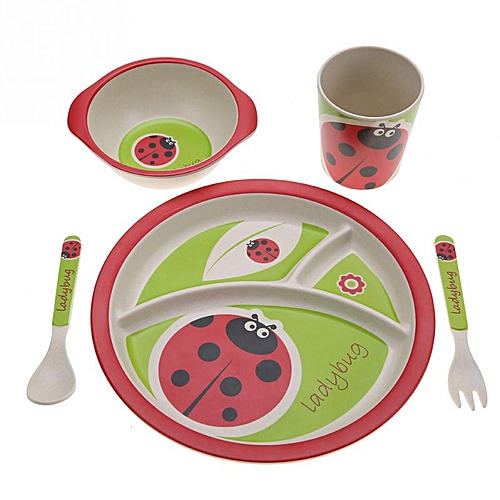 Baby Plates Bowl Bamboo Baby Eating Flatware Set W/ Spoon Blue Kitchenware Bowls & Plates