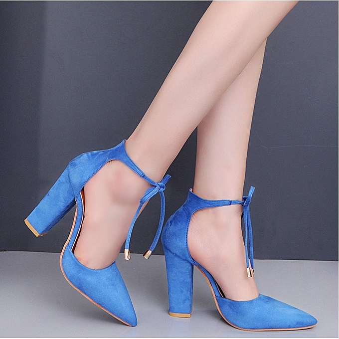 b1c884a7121 Sexy Lady s high heels sandals pointed thick with suede foot ring sling  hollow plus size.