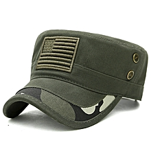 Mens Cotton Camouflage Badge Cadet Army Cap Outdoor Adjustable Military Hat Flat Top Cap