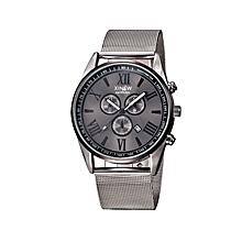 Men's Multifunction Day Date Analog Quartz Stainless Steel Mesh Wrist Watch-Black
