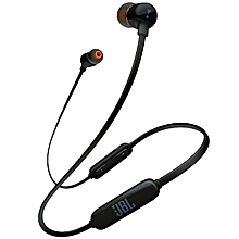 T110 Stereo Earphones Magnetic Absorption Sweatproof Earbuds with Mic - BLACK