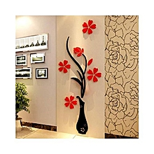 3D Acrylic Wall Sticker Vase Plum Blossom - Black & Red