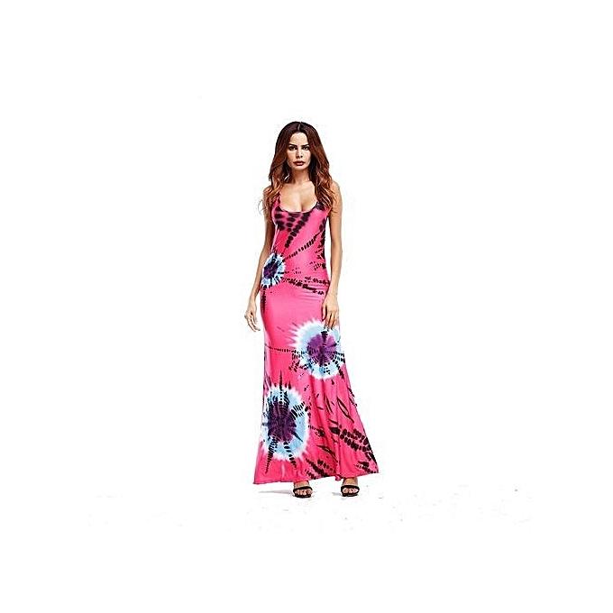 c77771bbeab94 2017 Tank Floral Print Long Maxi Party Beach Dresses Boho Women Loose  Casual Summer Loose Sleeveless Sexy Cross Back(pink)