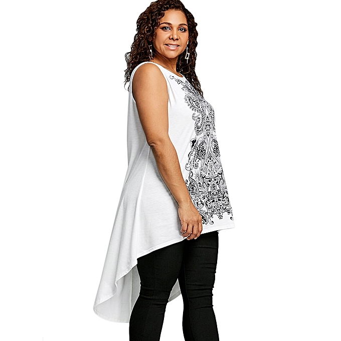 fa64bccd8c3a0 ... Plus Size Sleeveless Paisley High Low T-shirt - WHITE AND BLACK ...