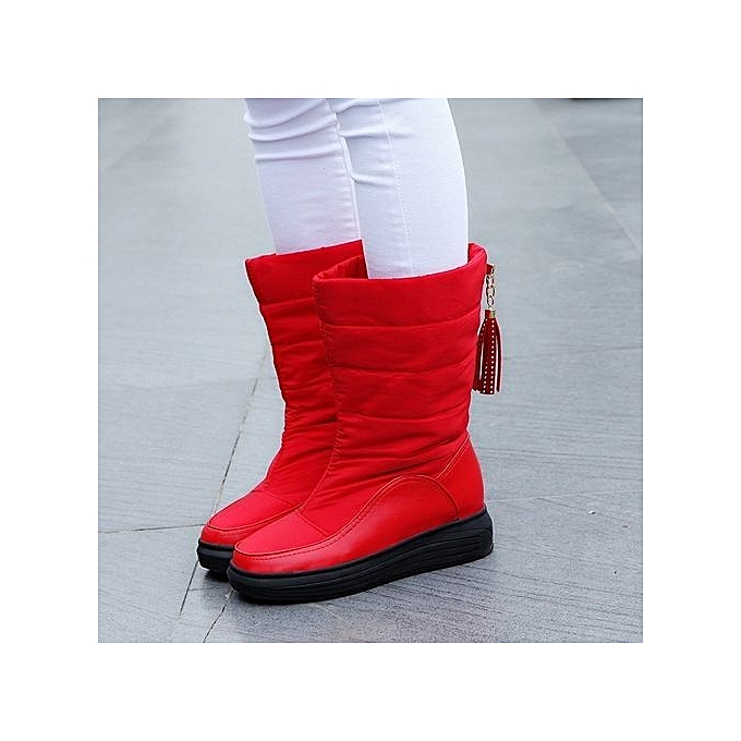 418a1348dcd ... bluerdream-Winter Warm Snow Boots Cotton Shoes Flat Heels Knee High  Boots Women Boots RD ...