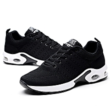 Breathable Knitting Line Sneakers Men Sport Running Shoes Fashion Casual Shoes (Black)