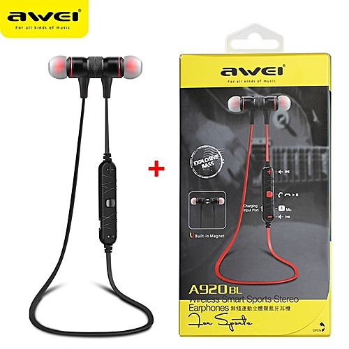 4c26d33ab96 Awei Sport Bluetooth Headset, A920BL Wireless Sport Bluetooth In-ear  Earphones Voice Control Headphone(Black)