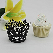 New! Butterfly Lace Laser Cut Cupcake Wrapper Liner Baking Cup Muffin -Black