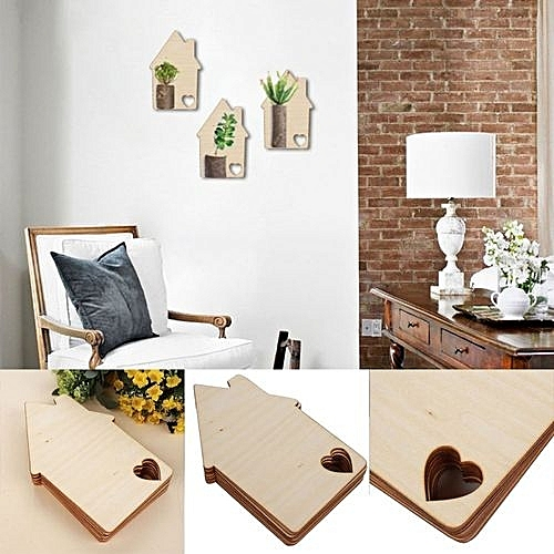 Lovely 10pcs Laser Wooden Hous E Love Home Plain Plaque Hang Ing Decoration Craft Gifts Fo