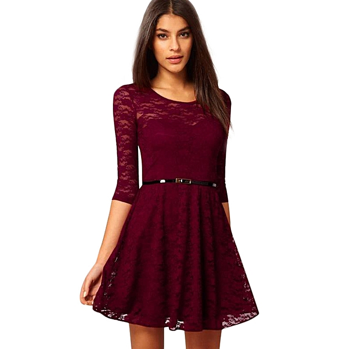 jiuhap store Women s Spoon Neck 3 4 Sleeve Lace Skater Dress include Belt  Casual Mini Dress-Red a6a4ac4c4
