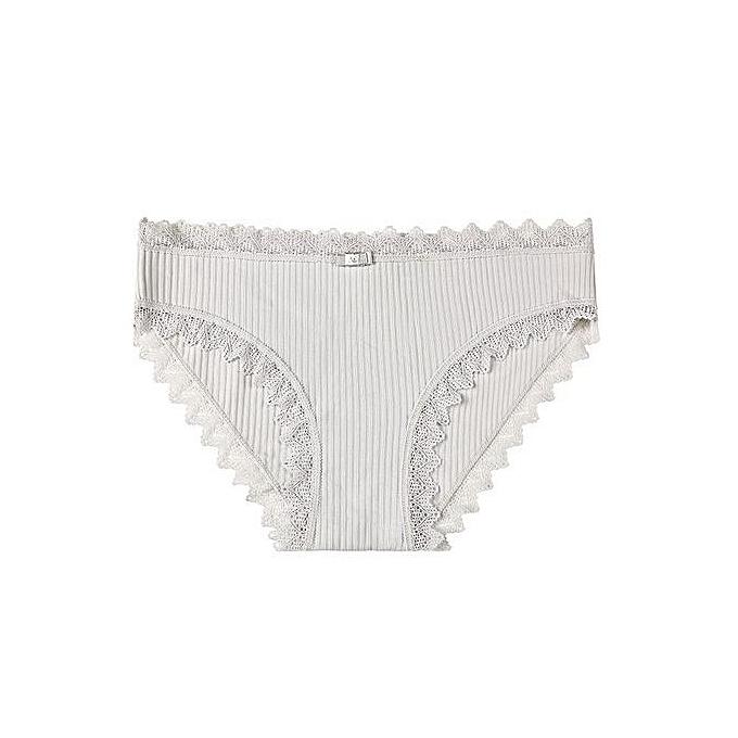 d0960030234c Sweet girl underwear female cute seamless underwear lace side student  cotton briefs-grey1