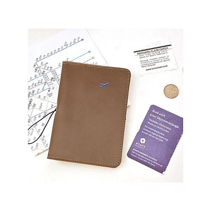 6e2b71020 bluerdream-Travel Leather Passport Holder Card Case Protector Cover Wallet  Bag Khaki-Khaki