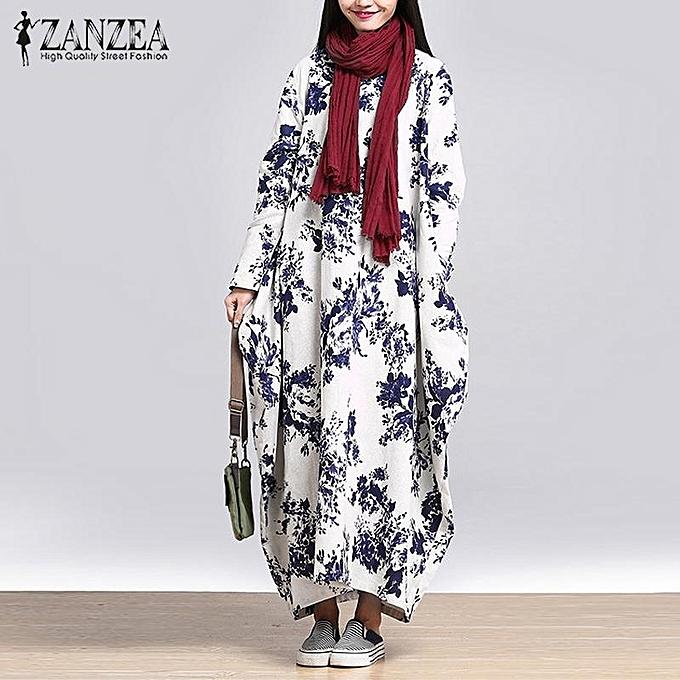 6b05c7cc7f ZANZEA ZANZEA Oversized Womens Cotton Linen Floral Long sleeves Casual Long  Maxi Dress Kaftan