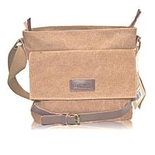 Brown Unisex Canvas Shoulder Bag .