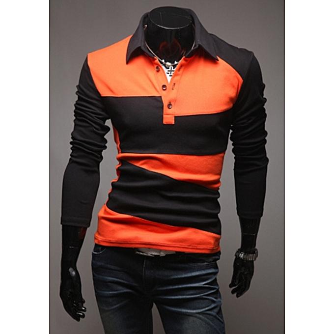 0adeb49ae01 Fashion Men s Long Sleeve Polo Shirt Striped Autumn Winter Turn Down ...