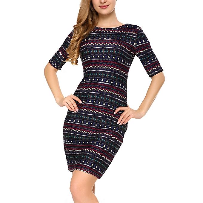 Generic Mixfeer Women s Vintage Print Open Back Bodycon Dress   Best ... 1113d626e