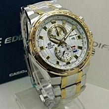 Ivory & Gold Watch With Stainless Alloy Steel Straps