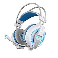 Headphone Gaming, Gaming Headphones G7000 Function/Breathing LED Light Earphones (White Blue)