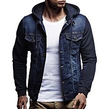 CALOFE Vintage Hoodies Jacket Men Autumn Fashion Solid Windbreaker Streetwear Coats Casual Pockets Design Mens Denim Jacket