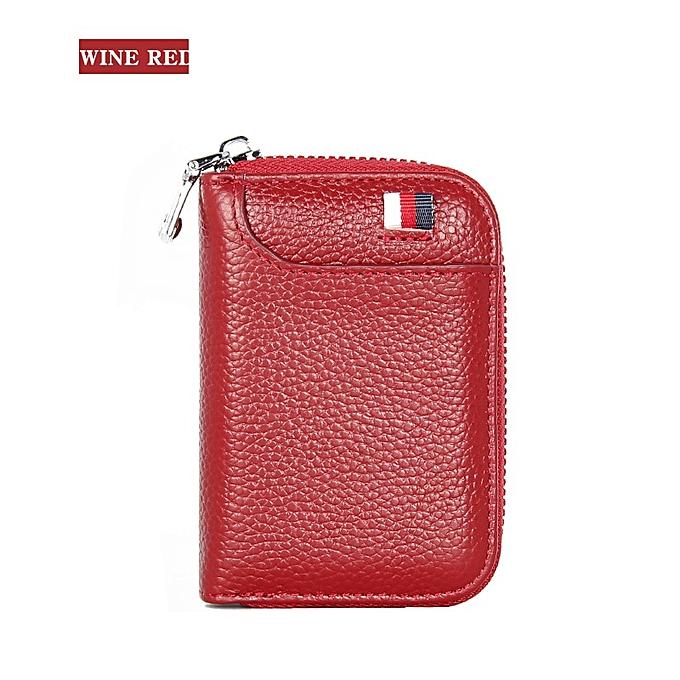 a222225d Fashion Leather Wallet Men Women Credit Card Holder Wallets Blocking Pocket  Purse Zipper Case Card Bag Zipper(Blue)