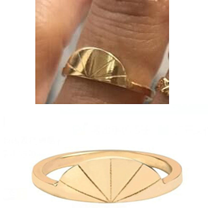The sun ring SUNRISE literature ring ins ring titanium steel is covered  with gold foil