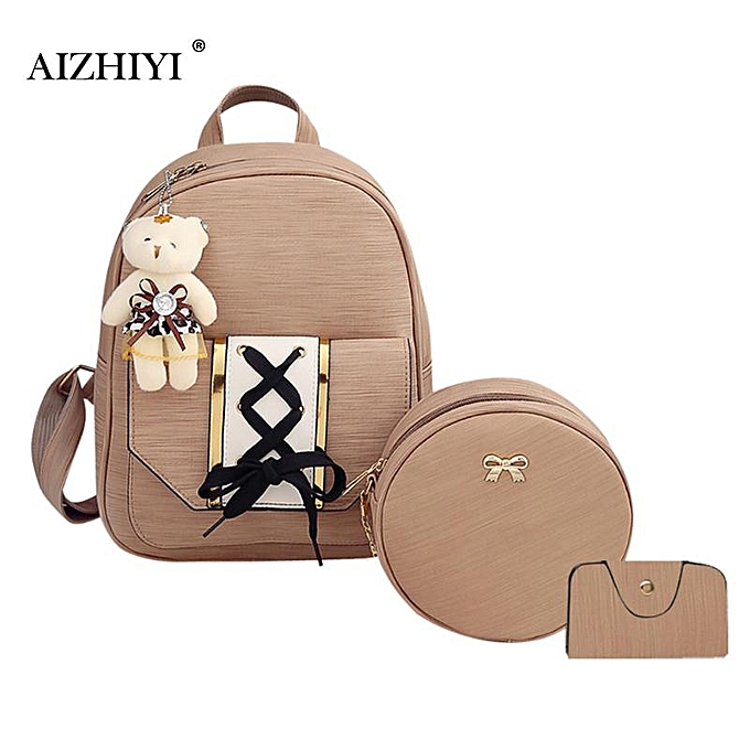 ca1f9229ae1 3pcs/Set Women Cute Soft PU Tie Backpack Round Small Shoulder Bags Teenage  Girls Four Pieces Tote Bag Crossbody Card Bag 2019(Pink)