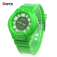 Women Quartz Watch Luminous Pointe PU Strap Wristwatch-GREEN