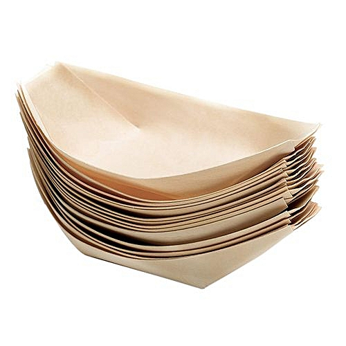 100x Wooden Boat Eco-friendly Fingerfood Dish Disposable Counter Disposable  Plate Dinner Plate Dish For Small Snacks