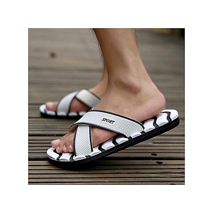 cf676c7f129 2019 Famous Brand Designer Slippers Casual Plaid Stripes Men Sandals Summer  Fashion Men Outdoor Casual Shoes Beach Flip Flops White