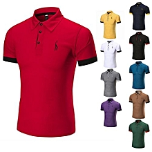 Hot Sale Men's Summer Cotton Breathable Top Short Sleeve Polo Shirts-Red