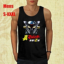 Mazinger Z Mecha Anime Cartoon Mens Black Tank Top Cotton Printed Short Sleeves Funny Graphic Tee Clothing