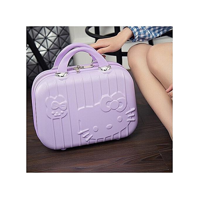 6c02e0e04 Cartoon Hello Kitty Cosmetic Bag Makeup Box Zipper Beauty Wash Case  Portable Lady Toiletry Suitcase Travel