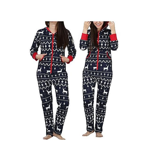 bb11285ac623 Hiaojbk Store Women Long Sleeve Ladies 3D Christmas Elk Printed Jumpsuit  Pyjamas Nightwear L-Navy