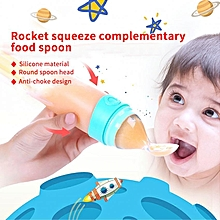 Portable Infant Baby Toddler Soft Silicone Squeeze Feeding Paste Bottle Spoon (Green)