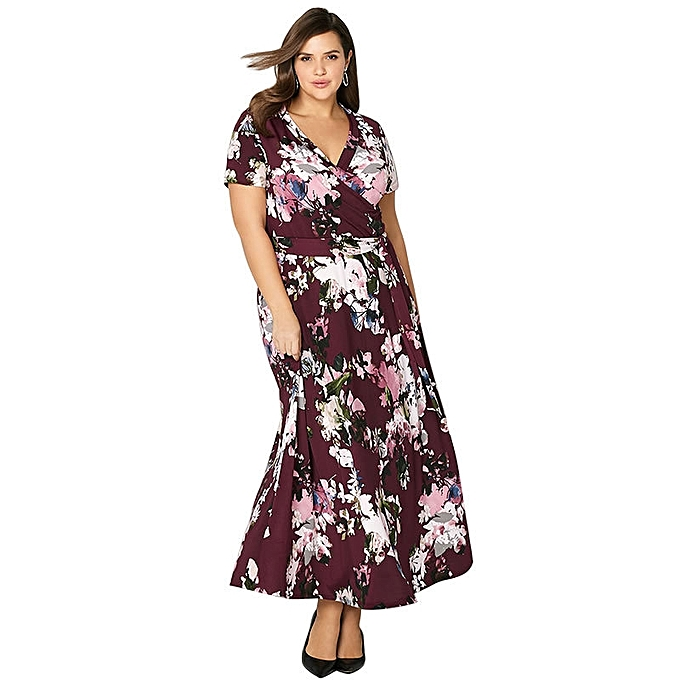cd7cbcb258d Maxi Women Dress Plus Size Long Dress Casual Vintage loose Floral Print  Vacation Boho Girl