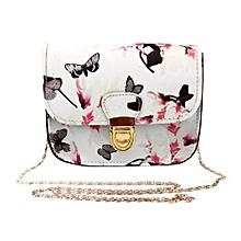 Fashion Women Butterfly Flower Printing Handbag Shoulder Bag Tote Messenger Bag