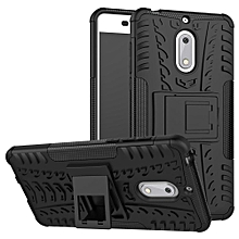 For Nokia 6 Case, 3 in 1 Tyre Grain Cobwebs Shock-proof Throw-proof Housing With Foldable Stand Holder TPU + PC Back Cover Case for NOKIA 6