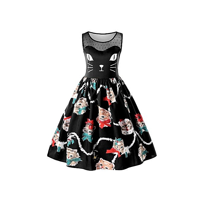 14c68cefe DRESSFO Kitten Print Sleeveless Swing Dress - BLACK @ Best Price ...